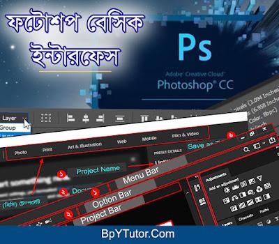 ফটোশপ বেসিক ইন্টারফেস (Photoshop Basic Interface) পরিচিত