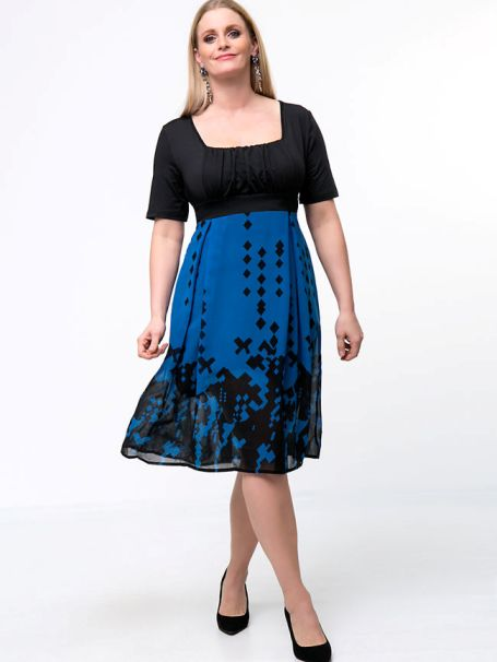 Square Neck Patchwork Color Block Plus Size Flared Dress -Flash Sale (Extra 10% Off): US$28.75