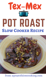 Use a frozen chunk of chuck or rump roast mixed with chipotle chile powder, canned Rotel and some corn to make a delicious and easy meal! This freezes and reheats well and has a great twangy taste that is delicious. Super easy to prepare!