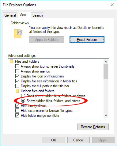 File Explorer Options Show Hidden Files Folders