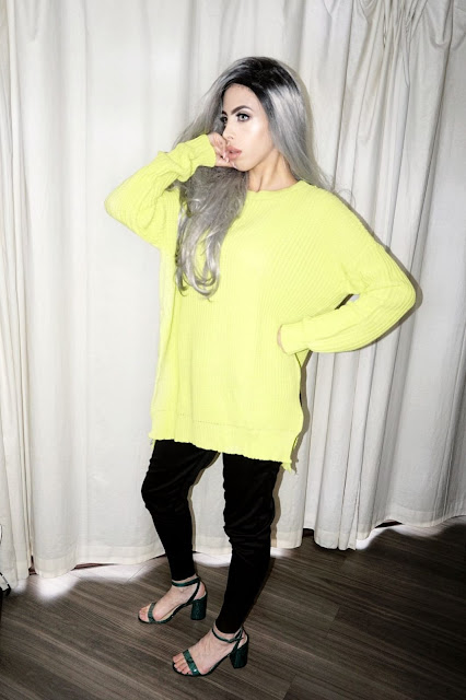 femme luxe review beauty blogger savana rae wearing the Lime Oversized Split Side Knitted Jumper - Lore