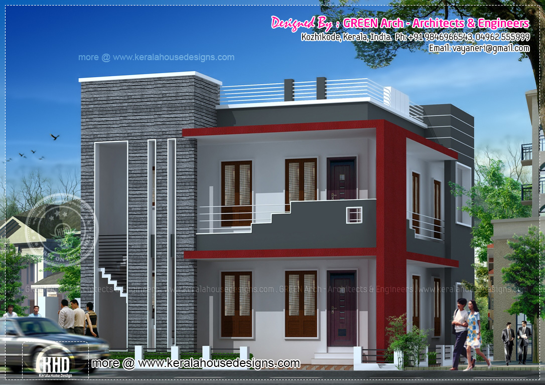 Floor Front Elevation : Square meter modern villa elevation kerala home