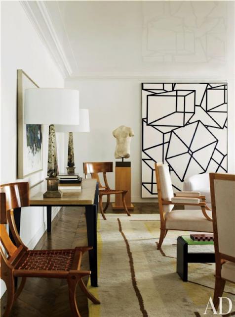 klismos chairs, black and white art, artistic rug