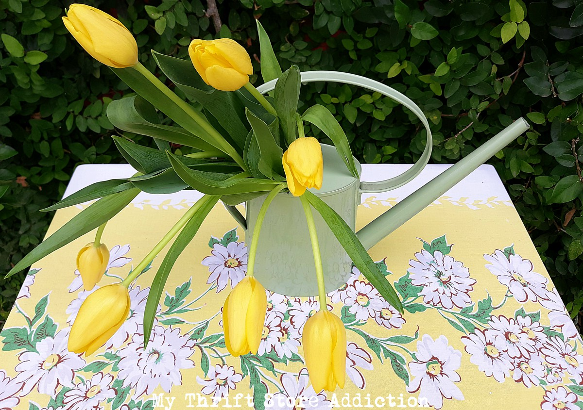 spring tablescape in the garden