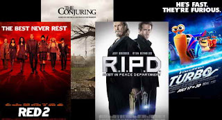 Red 2, Conjuring, RIPD, Turbo, in theaters