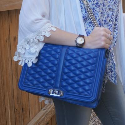 white crochet trim kimono, Rebecca Minkoff quilted jumbo Love bag in cobalt   awayfromtheblue