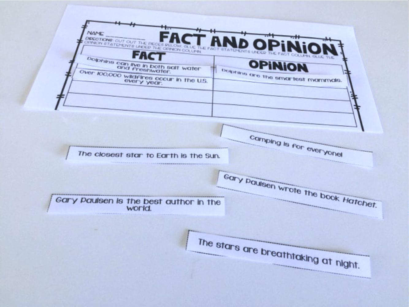 Fact Amp Opinion Freebie