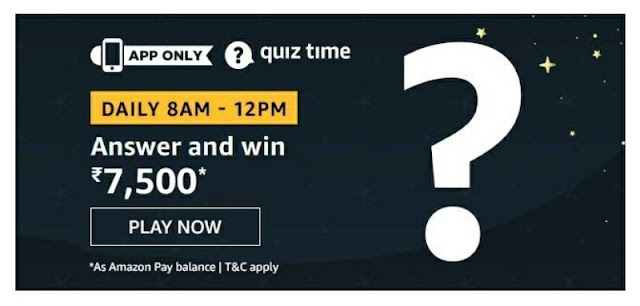 Amazon Quiz answer and win rs 7500