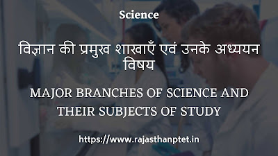 Major branches of science and their subjects of study