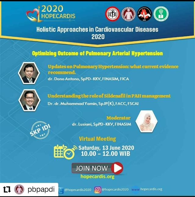 "Webinar bertajuk kesehatan kardiovaskular: *HOPECARDIS Virtual Meeting 2020*  "" _Holistic Approach in Cardiovascular Diseases_ """