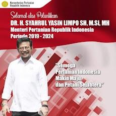 Selamat atas pelantikan Syahrul Yasin Limpo sebagai Menteri Pertanian Periode 2019-2024