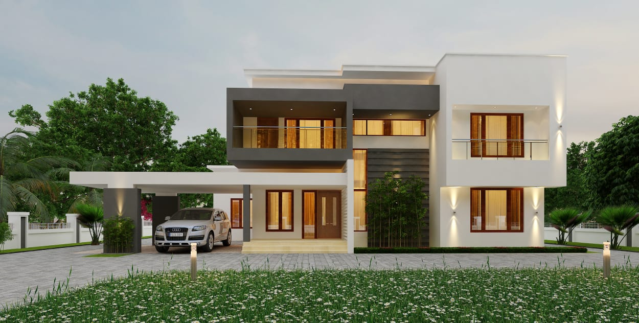4 Bed room residence in double story contemporary mixed style