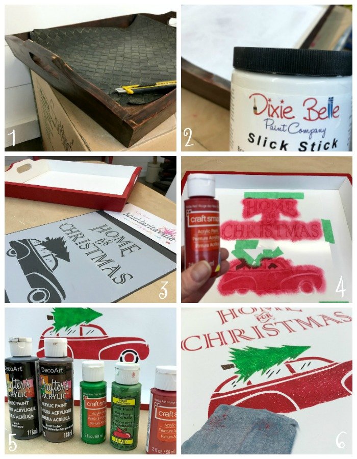 7 Steps To Upcycle A Thrift Store Tray For Christmas