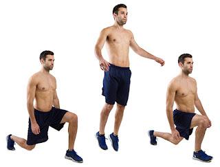 التبادل بالأرجل مع القفز (Lunges)