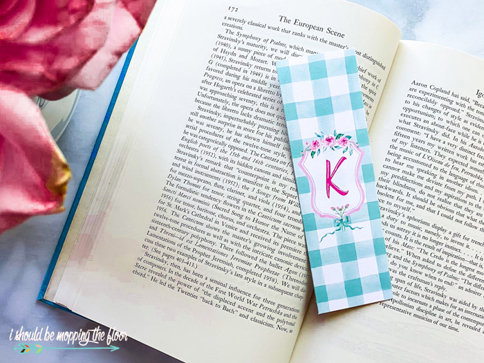 Printable Bookmarks with Monogram Letters