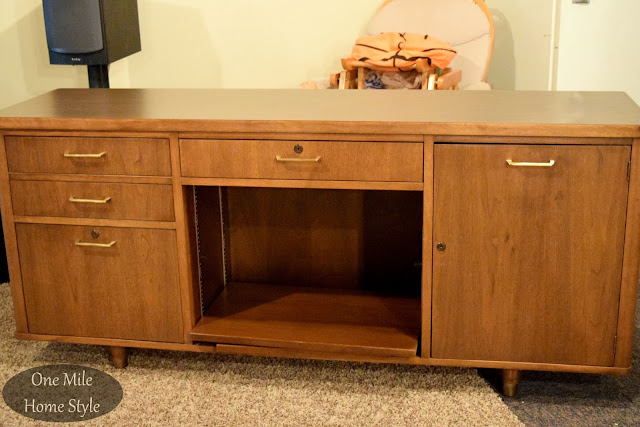 Mid Century Modern Office Credenza Makeover - Before  - One Mile Home Style