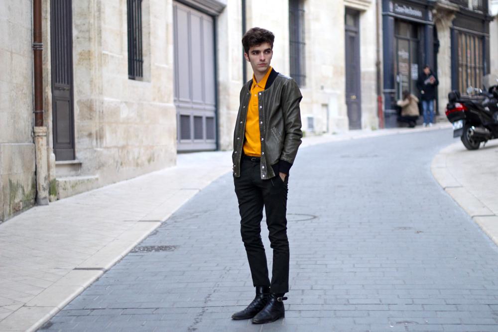 BLOG-MODE-HOMME-dandy-paris-bordeaux-polo-coloré-victomte-a-arthur-roange-jerssey-blouson-cuir-iro-khaki-vert-pantalon-skinny-pinces-hermes-bracelet-binome-style-tendance - 2
