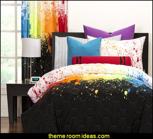 Crayola Cosmic Burst 3-piece Comforter Set  Splatter Paint Bedroom ideas -  splatter paint bedding - splatter paint theme bedroom decorating ideas - paint splatter decorations - Splatter paint rugs -  Splatter paint throw pillows - art bedrooms - splatter paint bedrooms