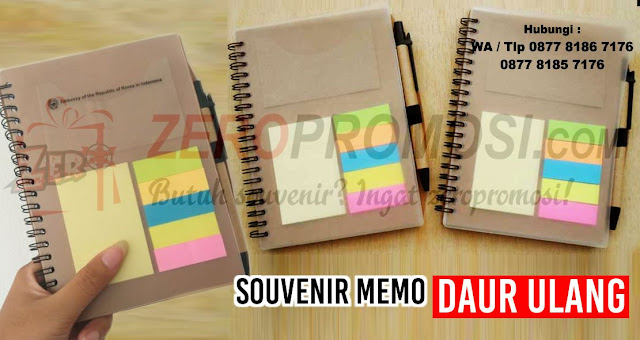 memo daur ulang, souvenir bloknote, agenda promosi, souvenir memo ramah lingkungan
