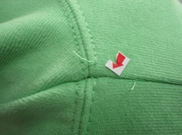 Broken stitch in garment