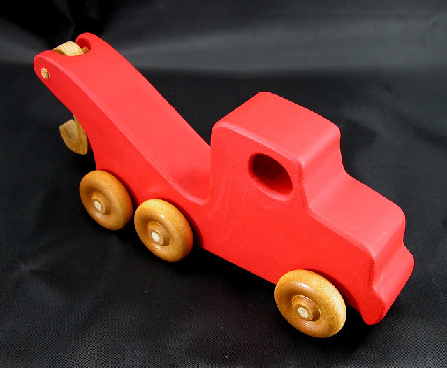 Handmade Wooden Toy Tow Truck From The Quick N Easy 5 Truck Fleet - Red Version - Right Side Top Front View