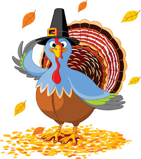 Clipart image of a cartoon turkey wearing a Pilgrim hat for Thanksgiving