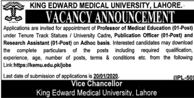 Jobs King Edward Medical University Lahore 2020