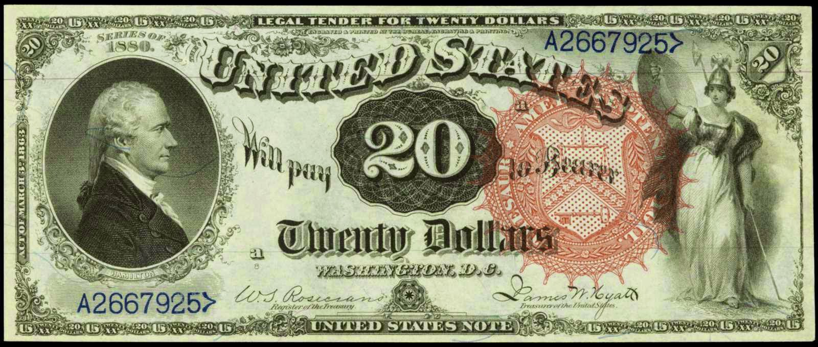 United States Notes Twenty Dollar Legal Tender Note Alexander Hamilton