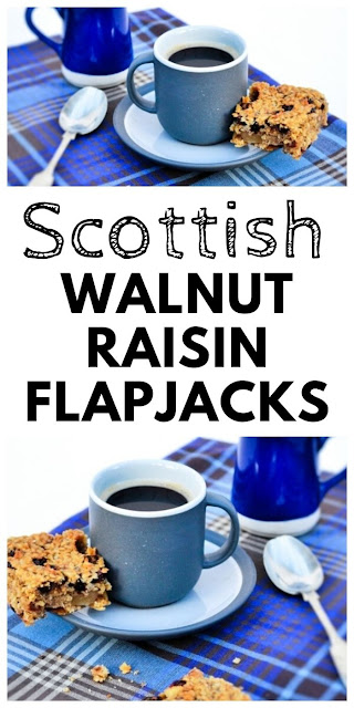 Scottish Walnut & Raisin Flapjacks. Traditional Scottish oaty bars with walnuts and raisins. Very easy to make and chewy just as they should be. #scottishflapjacks #flapjacks #oats #recipeswithoats #oatrecipes #porridgeoats #walnutrecipes #raisinrecipes #traybake