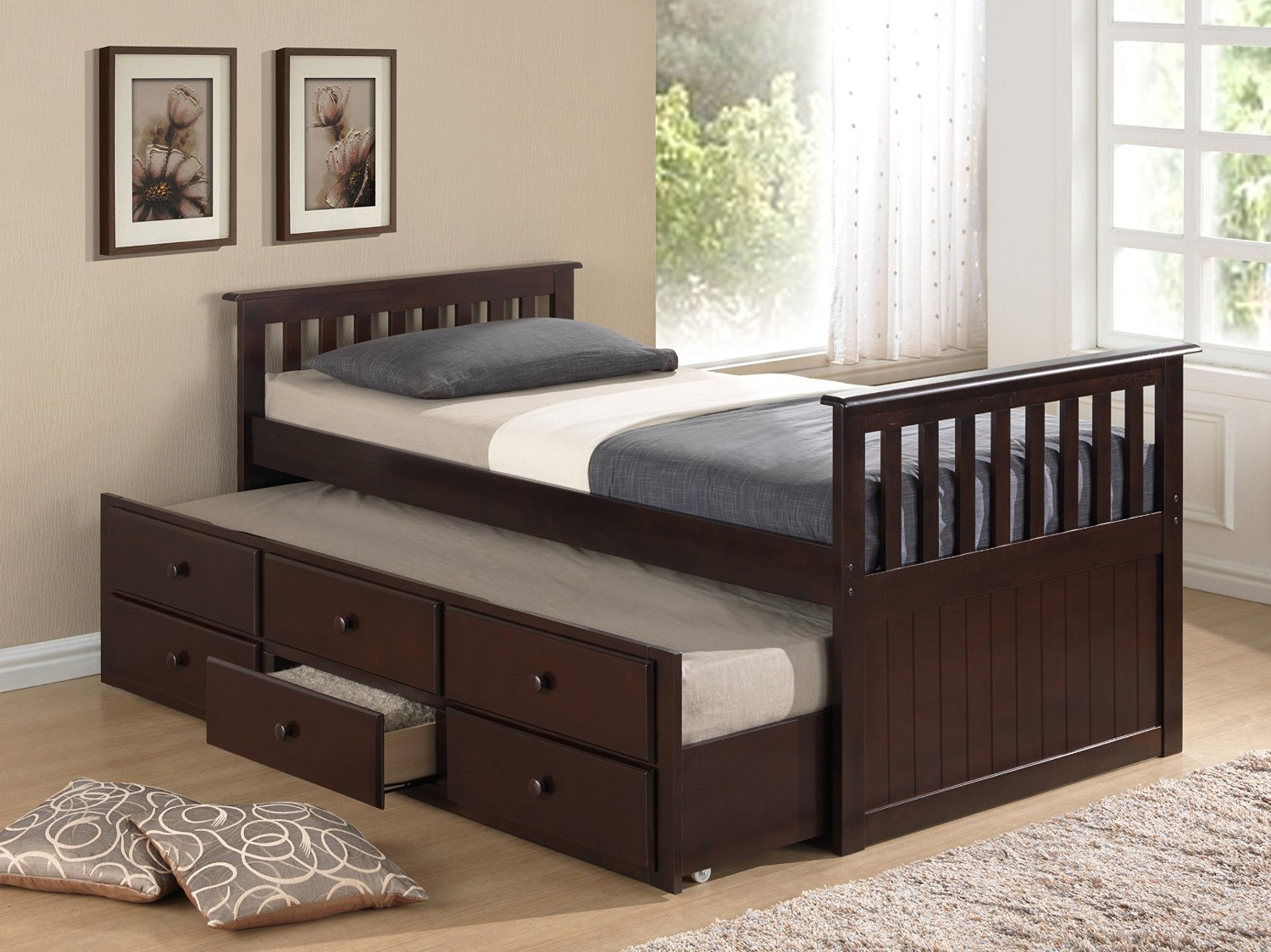 Twin Bed with Pull Out/Slide Out (Trundle) Bed Underneath