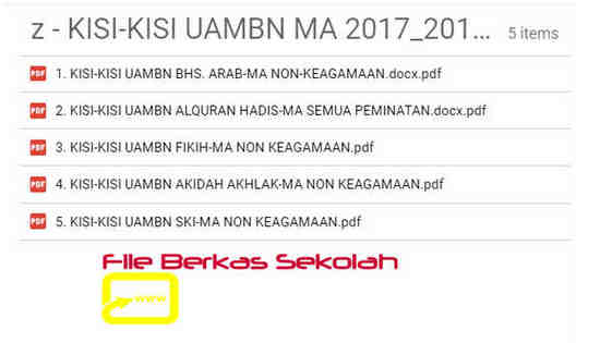 Kisi-Kisi UAMBN MA Tahun 2018 atau Tahun Pelajaran 2017/2018