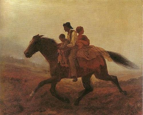 Family escaping from slavery