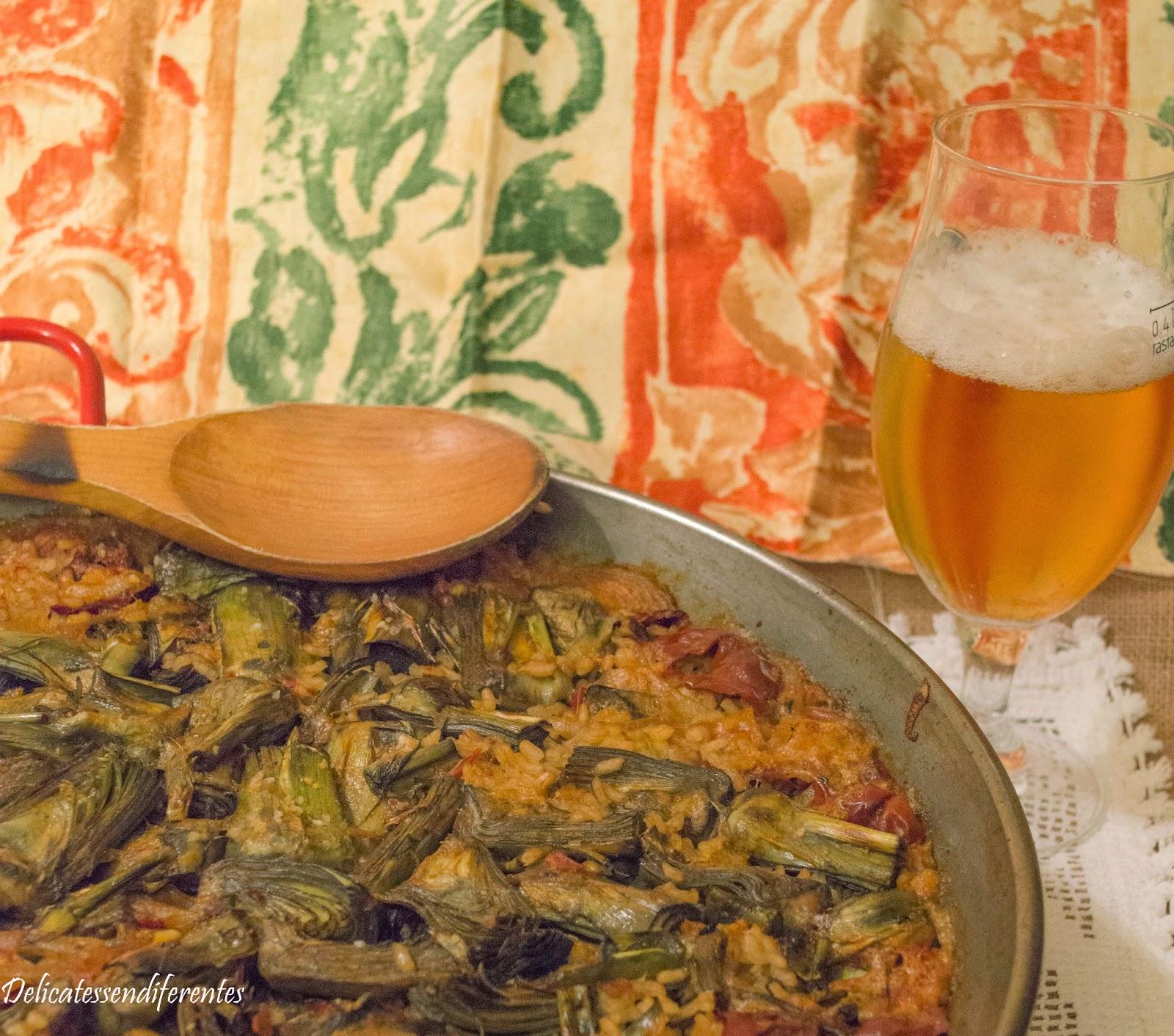 paella de alcachofas