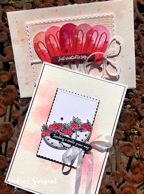 Here are a couple of cards featuring Stampin' Up!s Poppy Parade, with water colouring, 2-step stamping and alcohol pens blending by Andrea Sargent at Valley Inspirations, Australia.