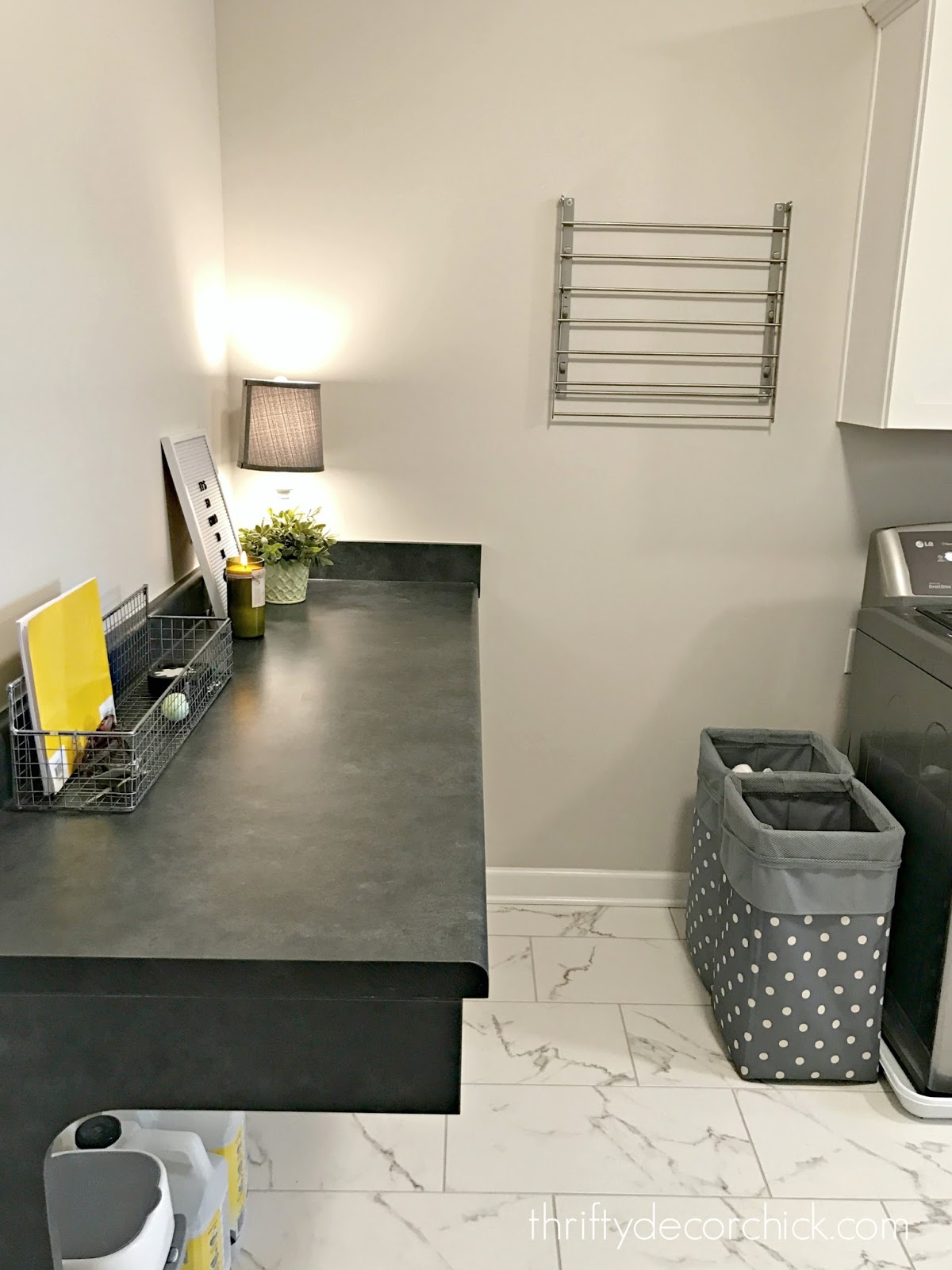 Folding table in laundry room