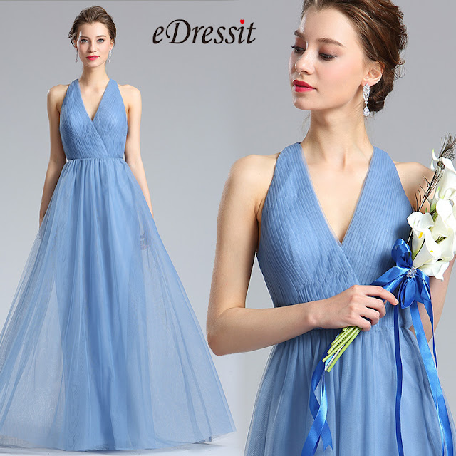 V-Cut Tulle Bridesmaid Dress Evening Dress