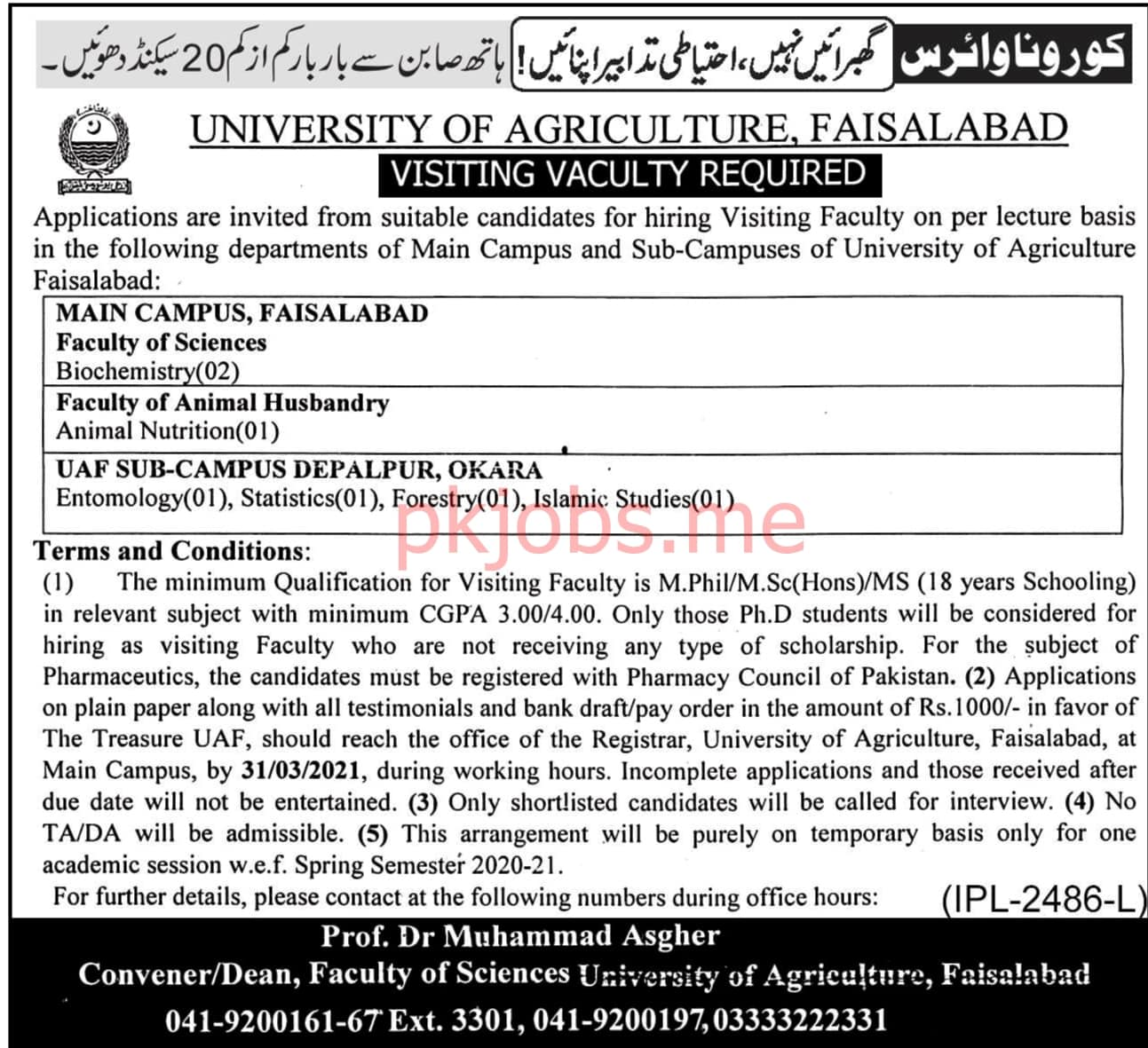 Latest University of Agriculture Faculty Posts 2021