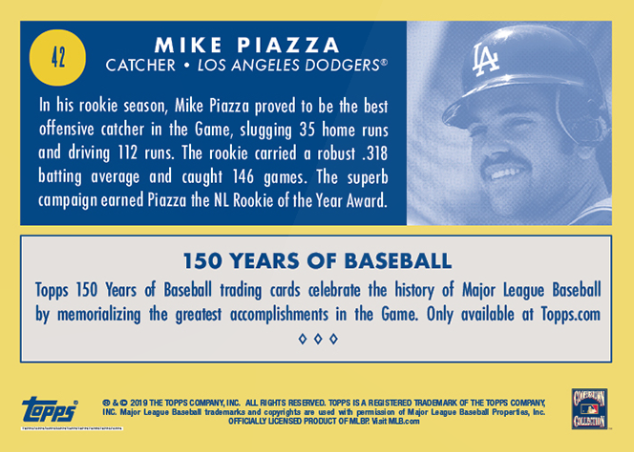 Dodgers Blue Heaven 2019 Topps 150 Years Of Baseball 42 Mike