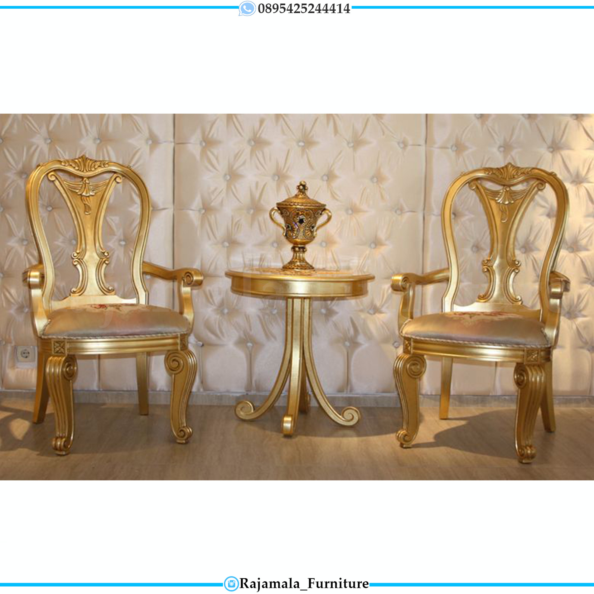 Kursi Teras Ukiran Jepara Golden Shine Color Furniture Jepara Terbaru RM-0022