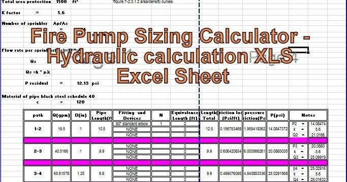 Engineering Xls Fire Pump Sizing Calculator Hydraulic