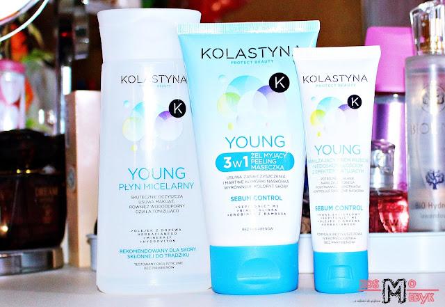 Kolastyna seria Young, Płyn micelarny | Żel myjący + Peeling + Maseczka 3w1 | Krem przeciw niedoskonałościom z efektem matującym