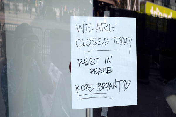 The TEAM LA store at Staples Center is closed in remembrance of Kobe Bryant...on January 27, 2020.