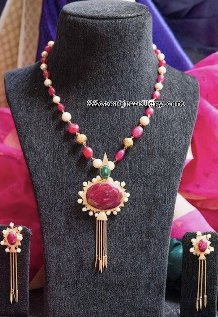 Simple Ruby Drops Set with Locket