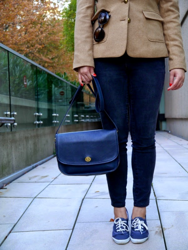 Weekend casual: Keds sneakers, skinny black denim, camel blazer, vintage leather bag