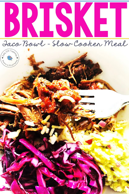 This is one of our absolutely favourite meals! When you try this easy slow cooker brisket taco bowl, you will store this as a family favourite. We have tried different takes on slow cooking the brisket but I've found that this is an absolute time saver and a winner!