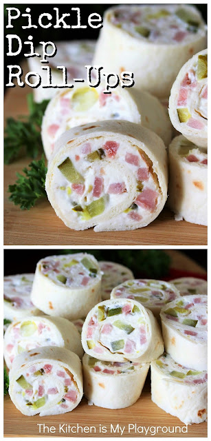 Pickle Dip Roll-Ups ~ Pickle fans, these tasty roll-ups are for you! With their classic creamy pickle dip filling, they pack great pickle flavor in every bite.  Perfect for parties, snacking, game day, or even lunch. #picklediprollups #pickledippinwheels #pickles  www.thekitchenismyplayground.com