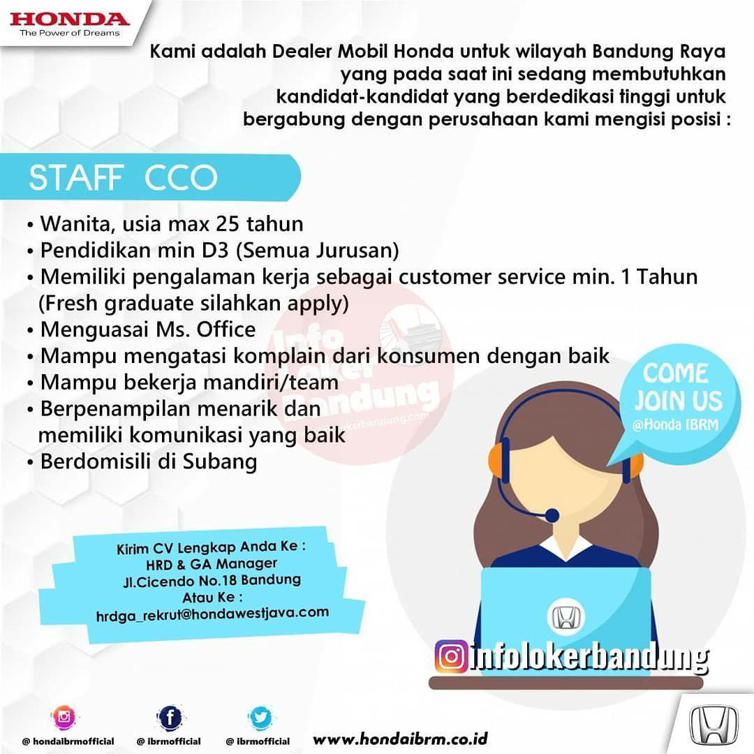 Lowongan Kerja Staff CCO & Sales Counter Honda IBRM Bandung April 2019