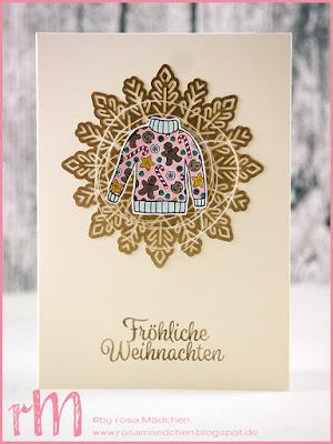 Stampin' Up! rosa Mädchen Kulmbach: Weihnachtskarten mit Von den Socken, Winterwunder, Christmas Sweaters, Santa Paws und Metallic Schneeflocken