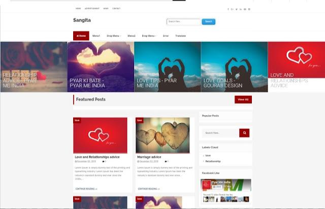 Sangita - Grid Style Premium Blogger Template
