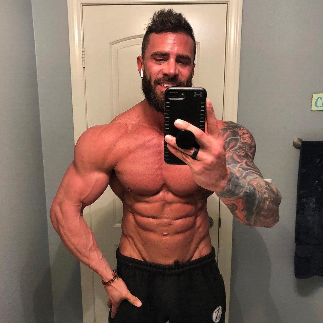 muscular-bearded-male-hunk-parker-egerton-shirtless-fit-dilf-sexy-baited-daddy-selfie